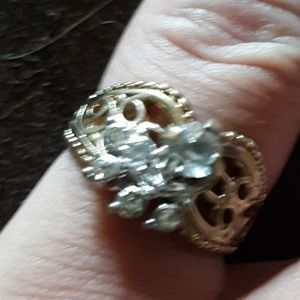 Gold plated diamond cocktail ring size 5